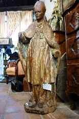 Grande statua raffigurante un vescovo XVIII legno-3