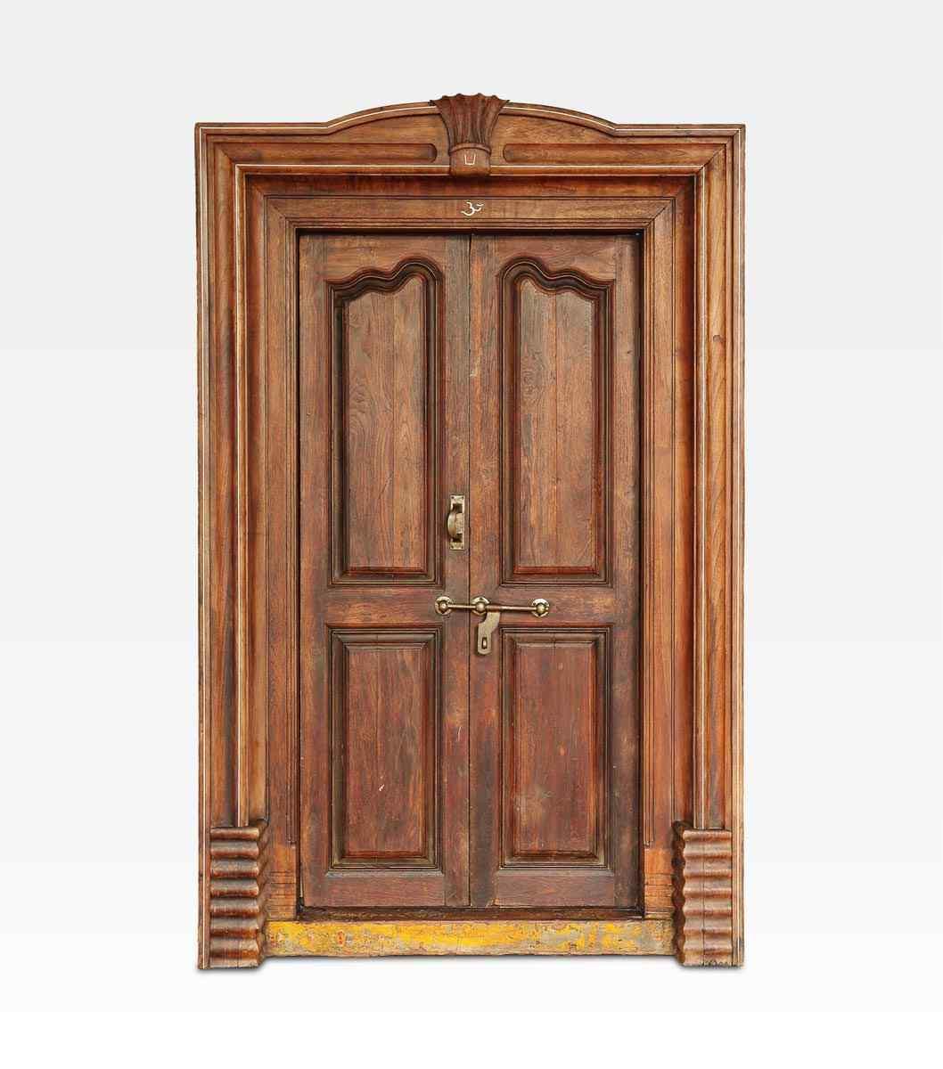 Porta indiana coloniale intagliata in legno di teak