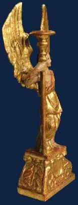 XVII secolo, Angelo reggicero, Papier machè, alt. cm 63-2