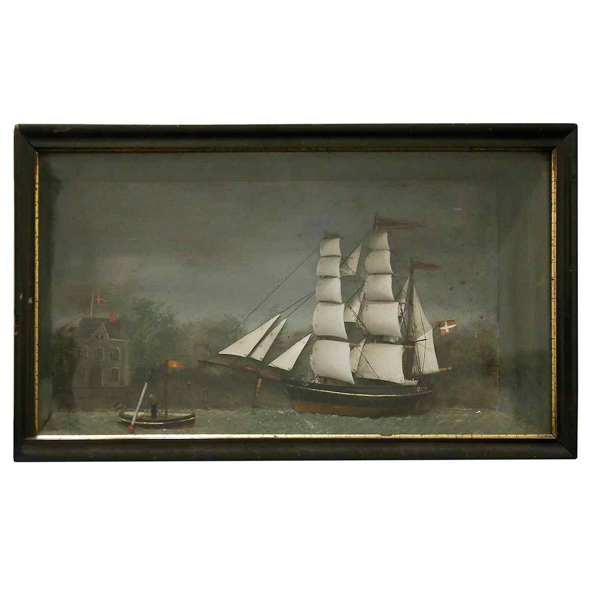 Un Maritime Diorama 19 ° secolo