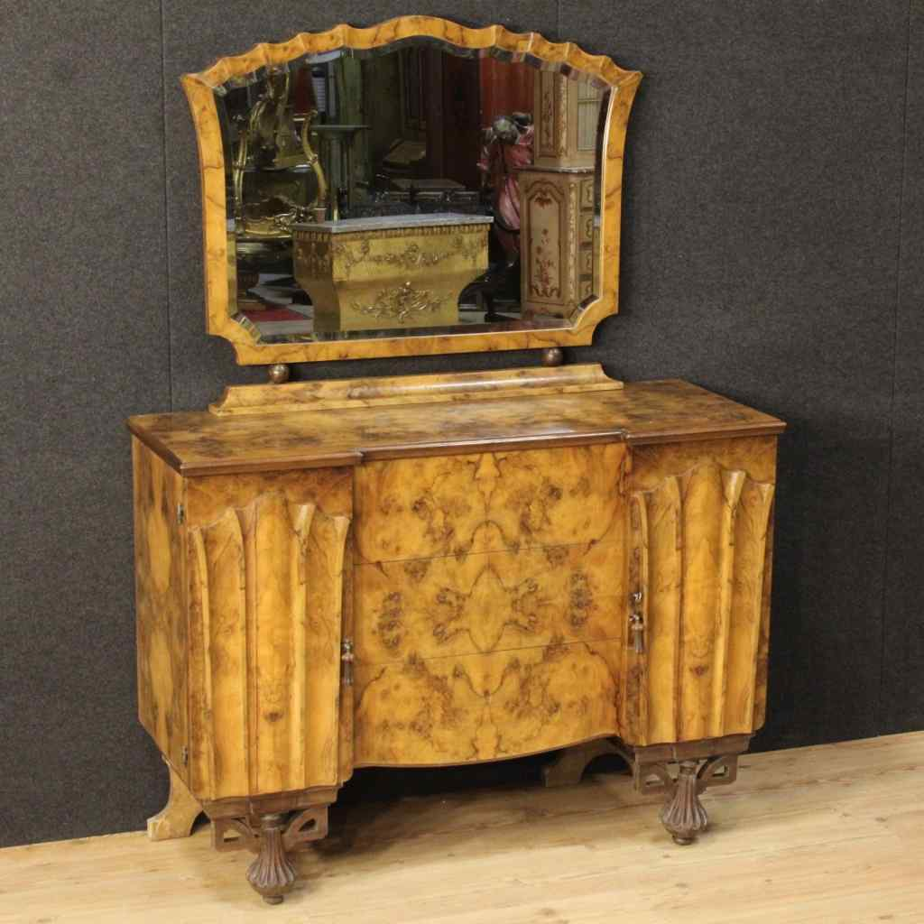 Dresser with mirror in Art Deco style in walnut and burr