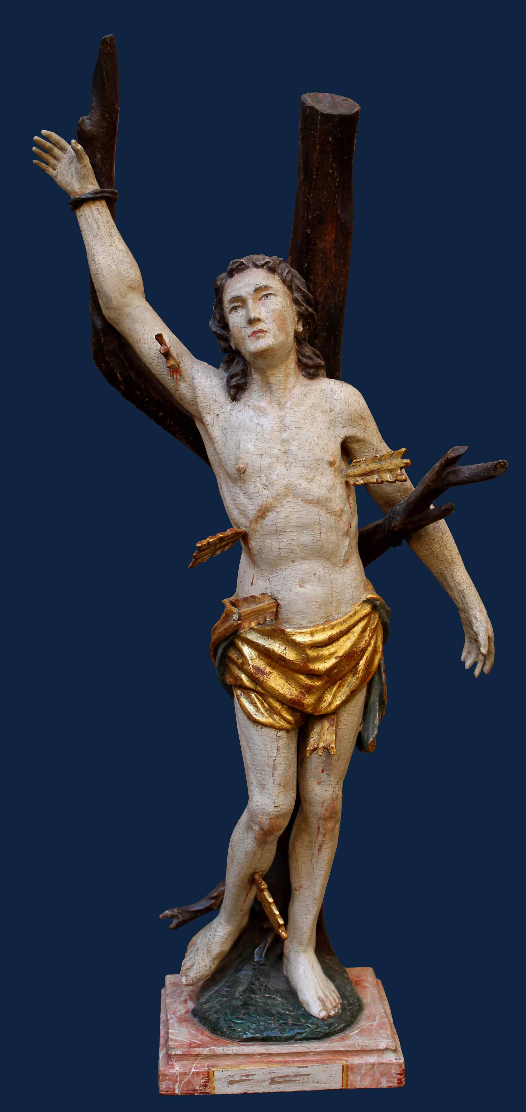 XVIII secolo, San Sebastiano, Legno policromo, alt. cm 55
