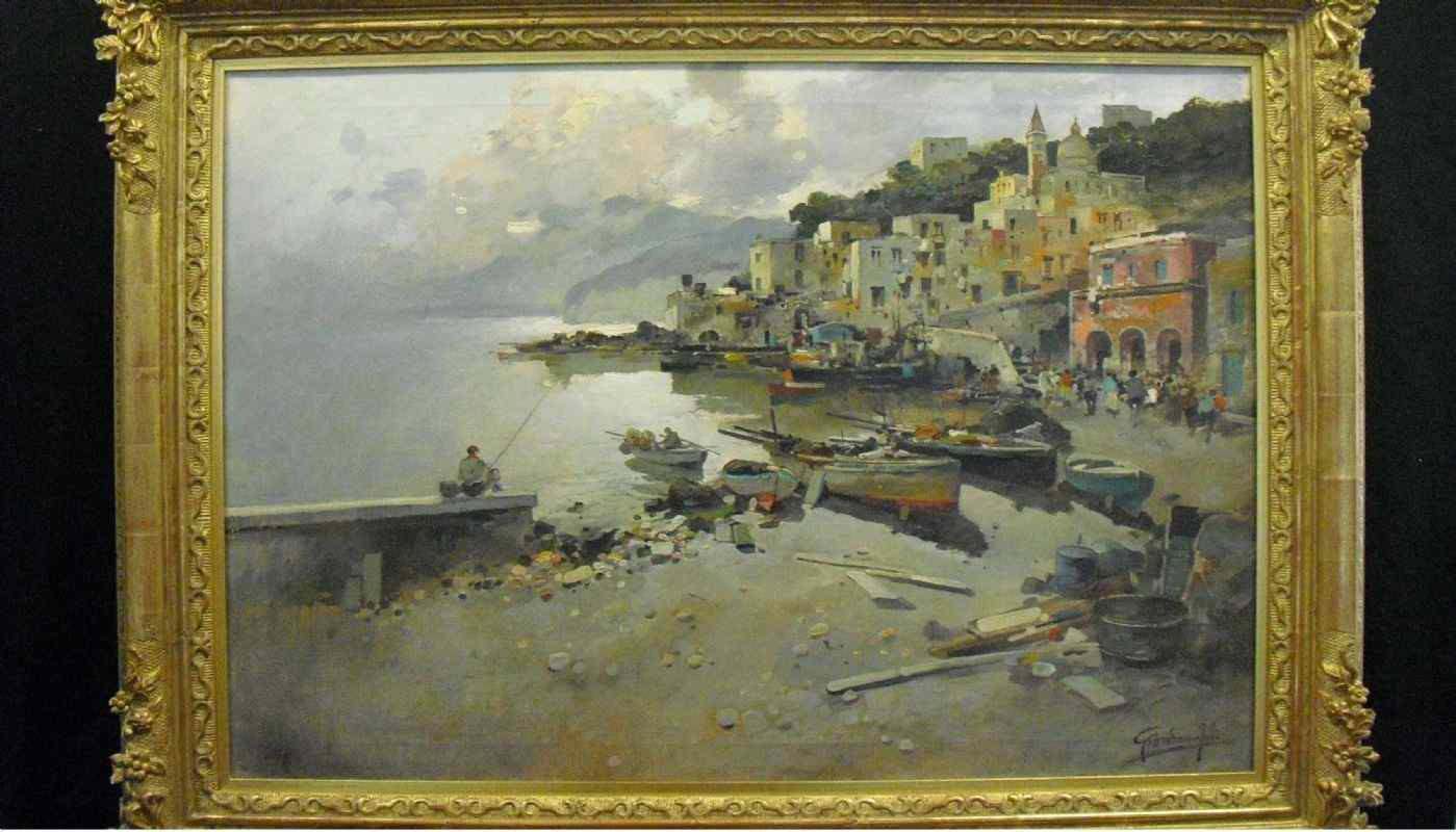 Olio su tela, Felice Giordano , veduta Costiera Amalfitana