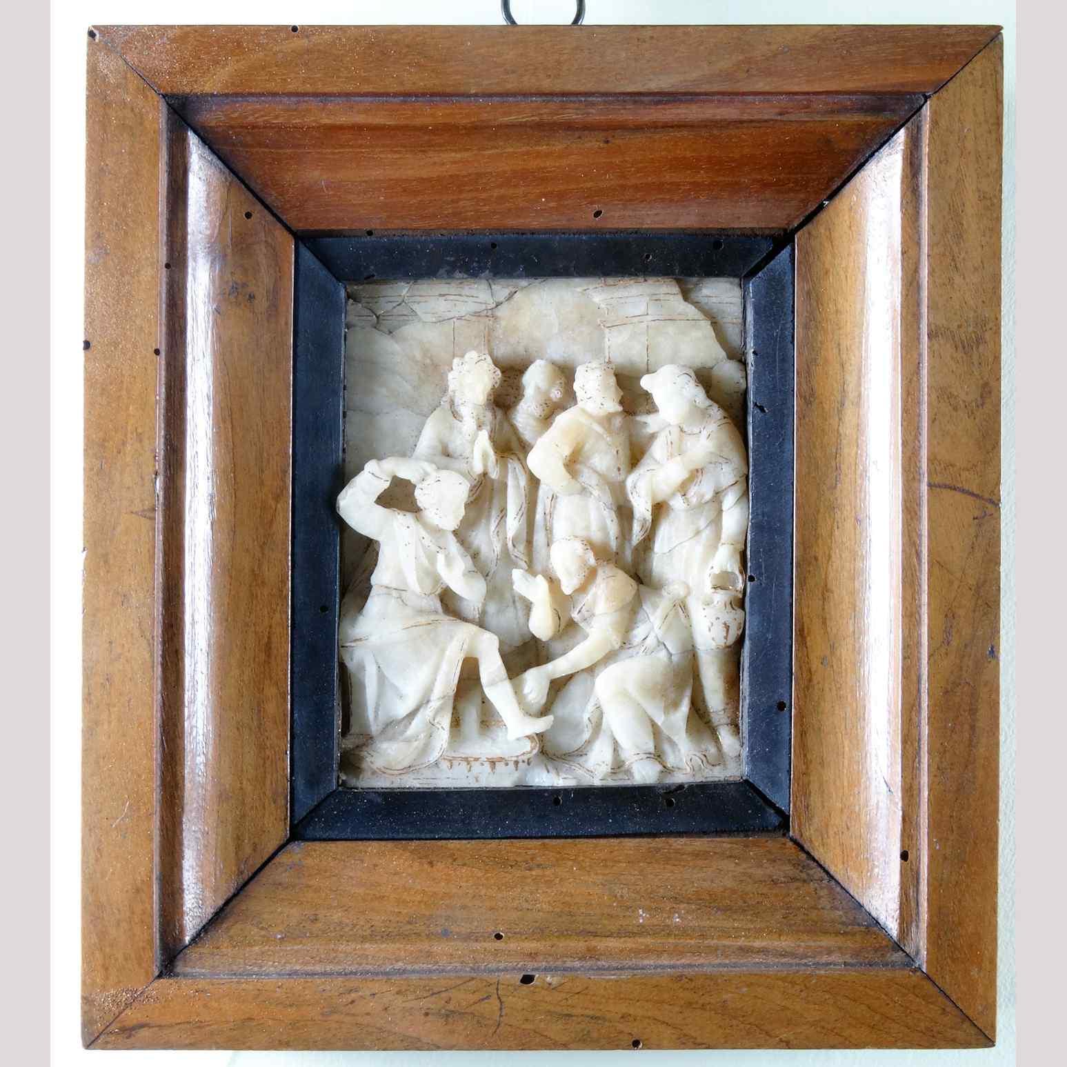 Bassorilievo in alabastro lumeggiato in oro del '500