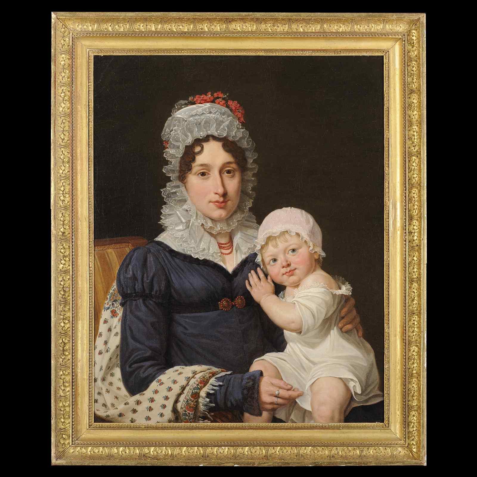 Portrait d'une mère et de son enfant - Louis-Marie Petit