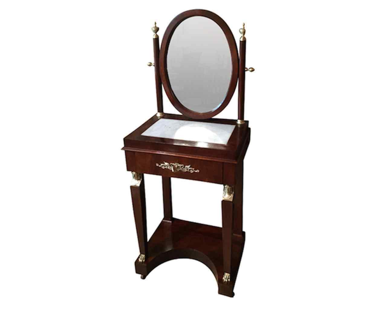 Mobiletto da camera con specchiera in stile Impero