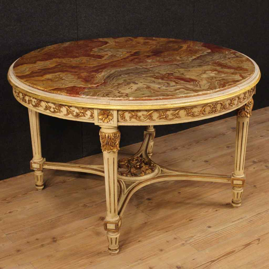 Tavolo rotondo italiano laccato e dorato in stile Luigi XVI