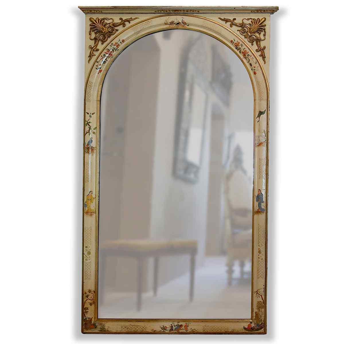Specchiera antica con decori giapponesi