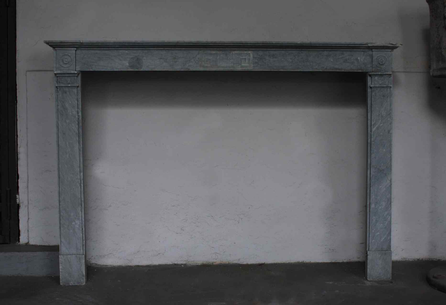 Fireplace in marble bardiglio