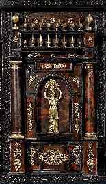 XVII secolo Stipo Legno ebanizzato, tartaruga, bronzo dorato-2