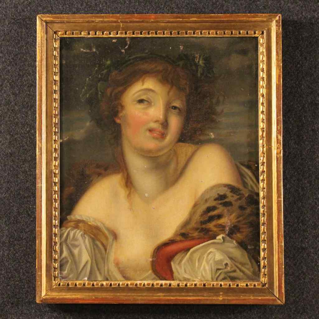 Antique French painting young girl portrait 19th century