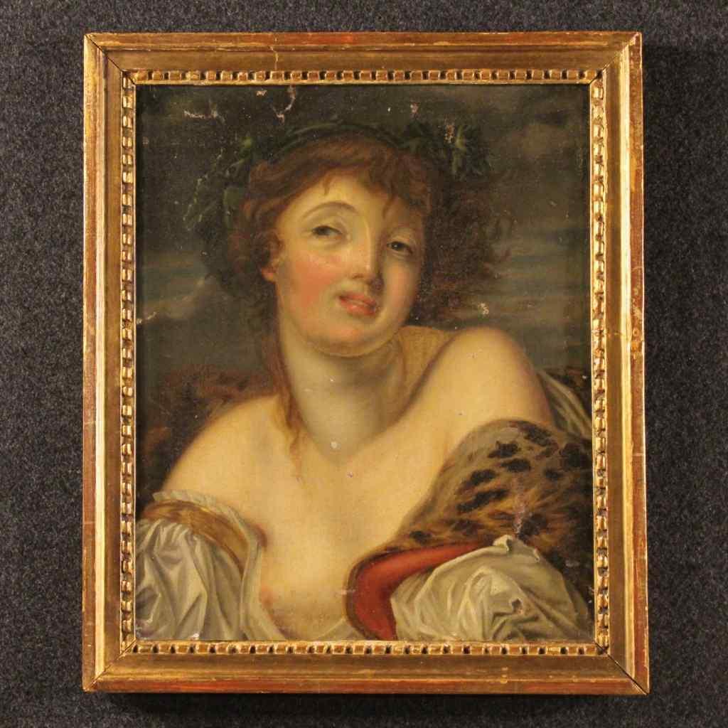 Старый девятнадцатого века французская девушка живопись
