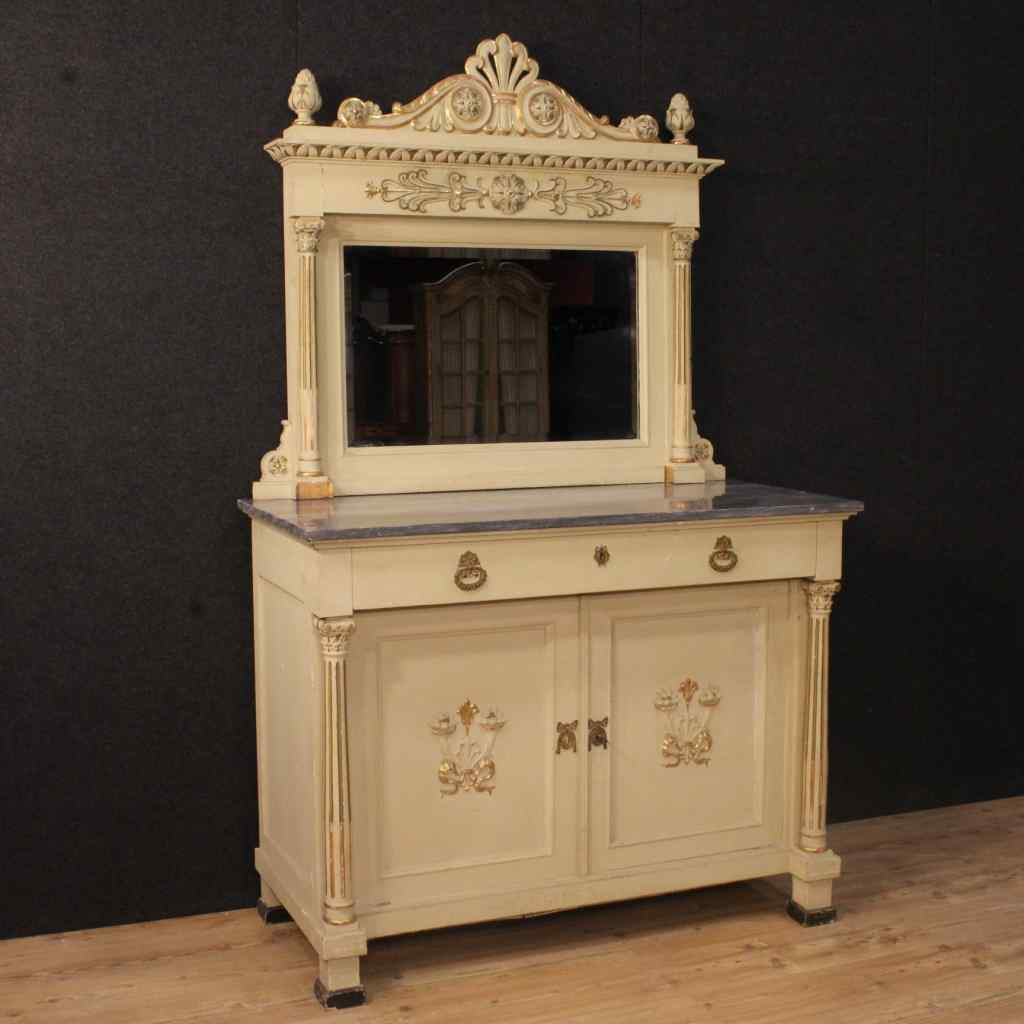 Buffet laqué avec miroir de style Louis XVI