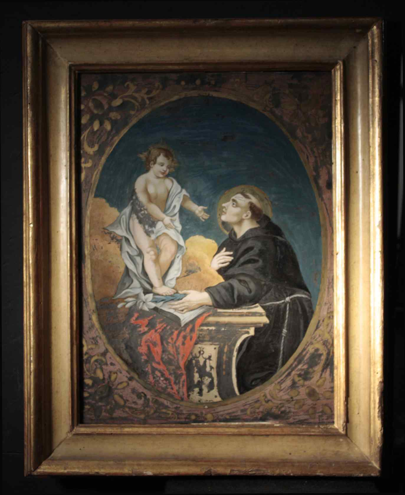 Peinture sur verre de Saint-Antoine avec l'Enfant Jésus