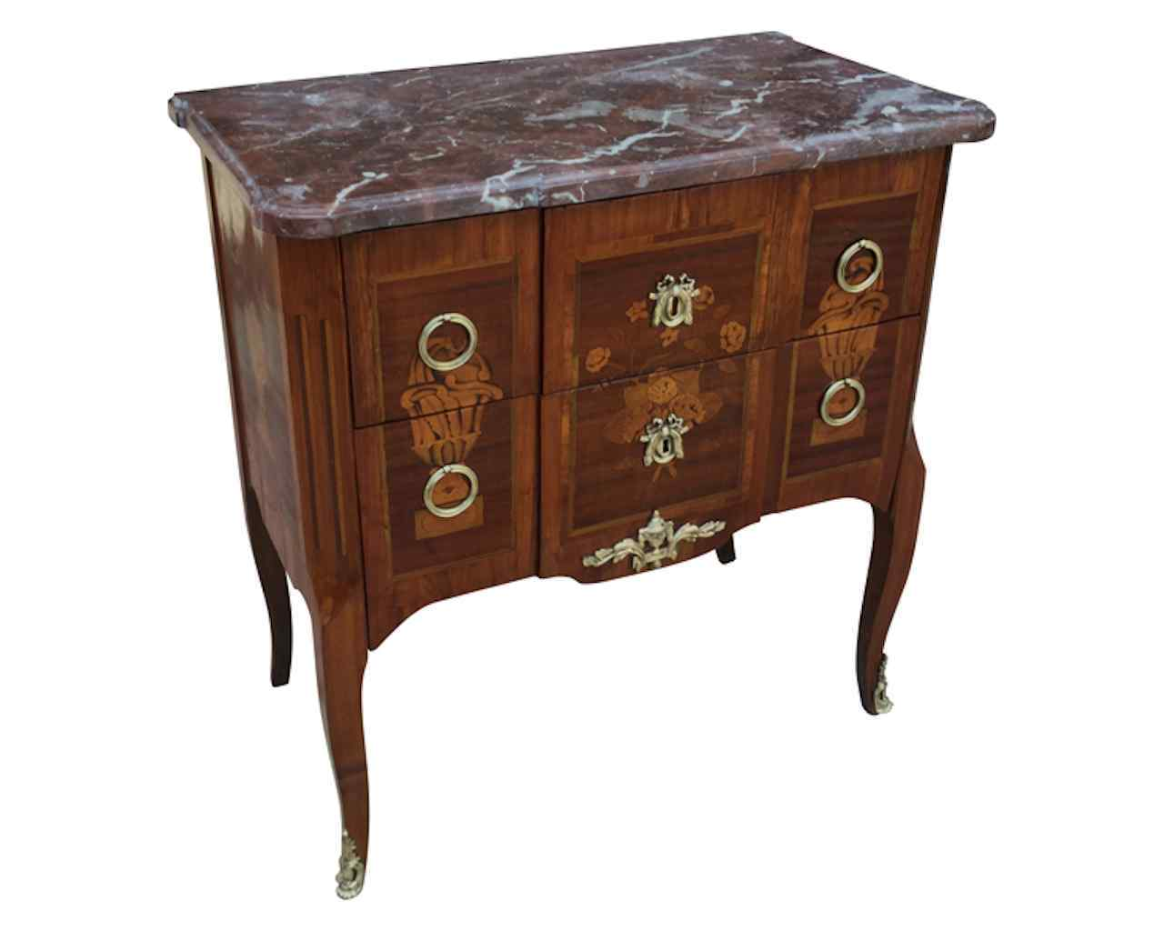 Commode 18th century in marquetry