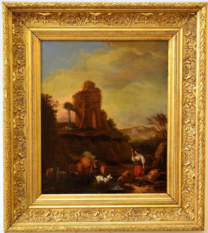 Пейзаж с руинами и стадом, маслом на панель, семнадцатый век