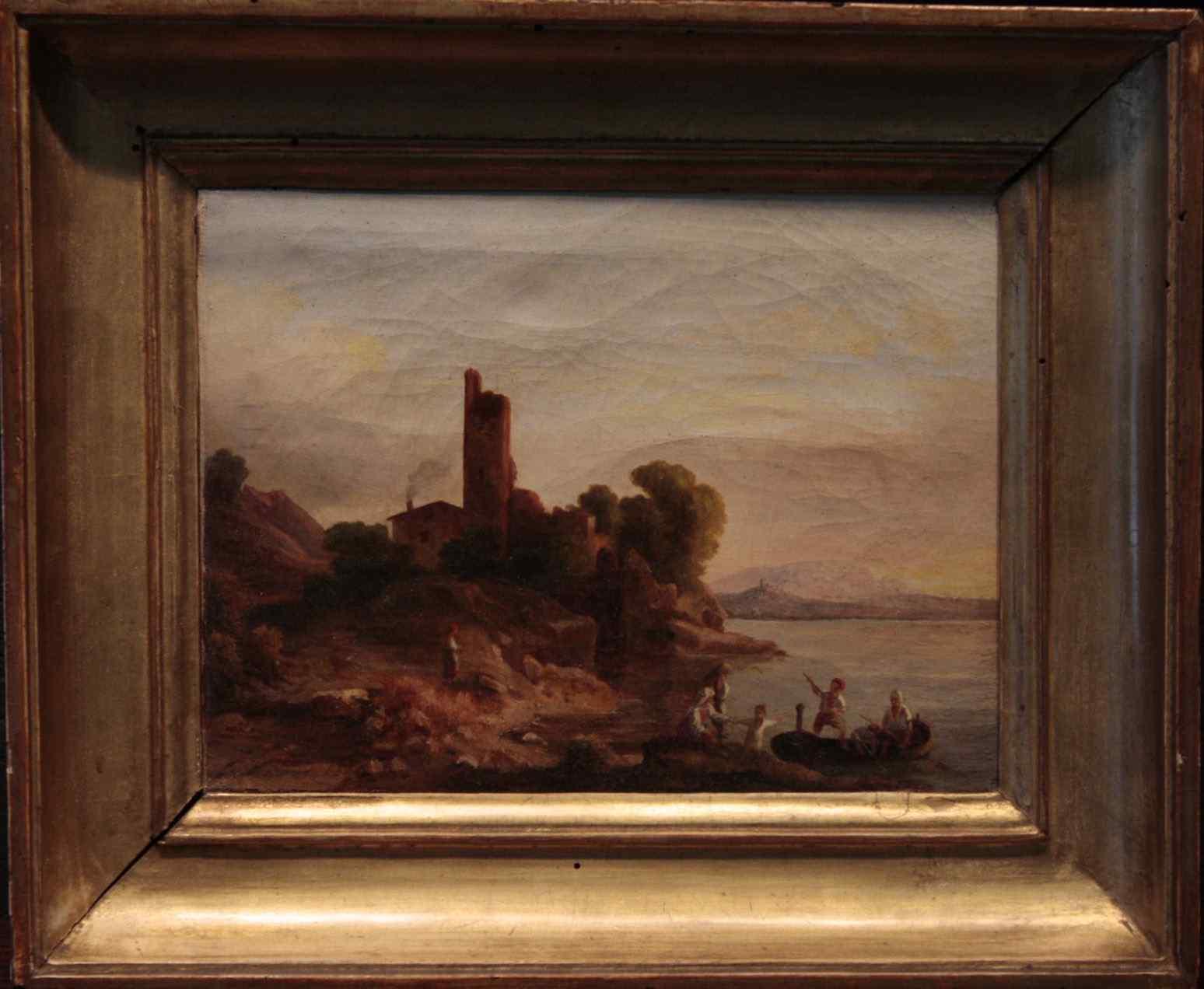 Peinture « Paysage avec » pêcheurs XIXsecolo