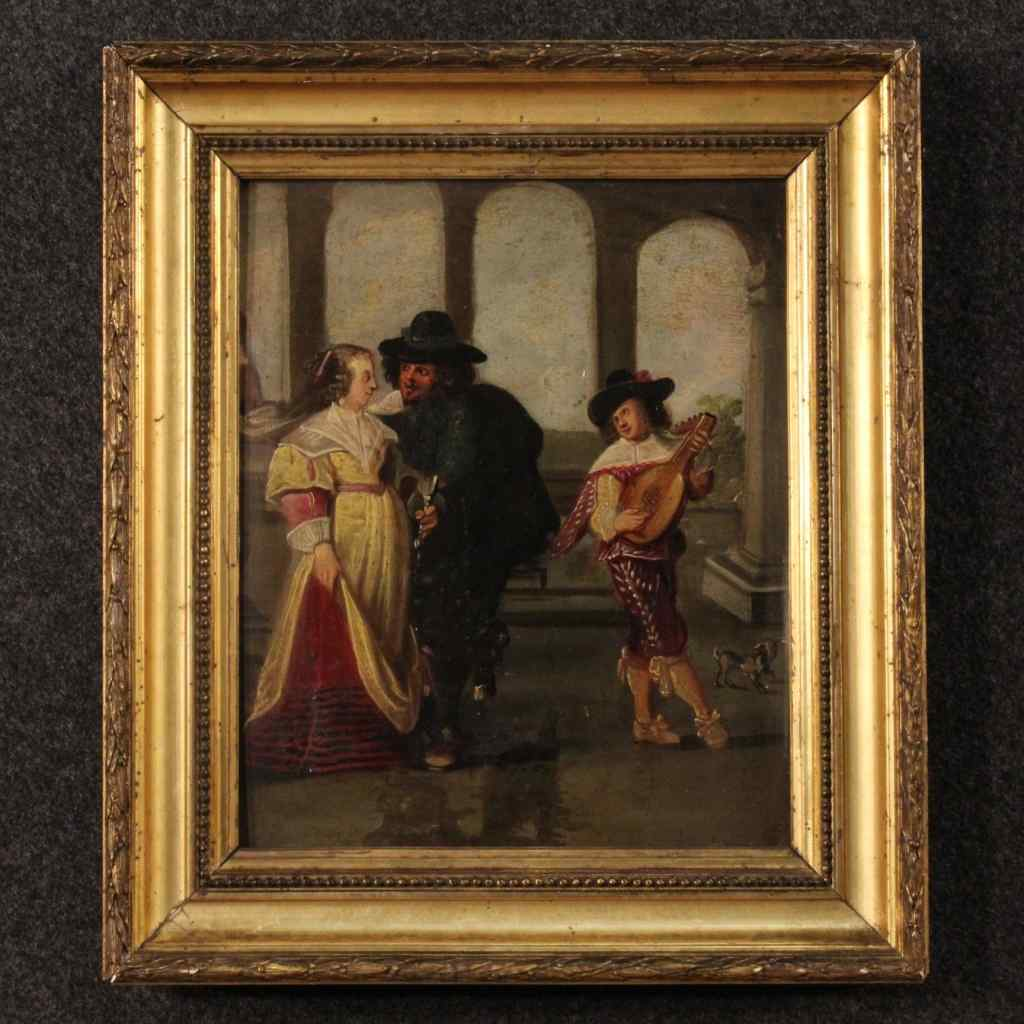 Antique French painting gallant scene 19th century