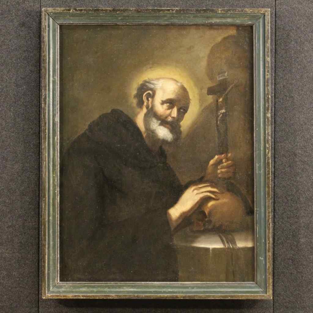 Antique Italian painting Friar with crucified Christ