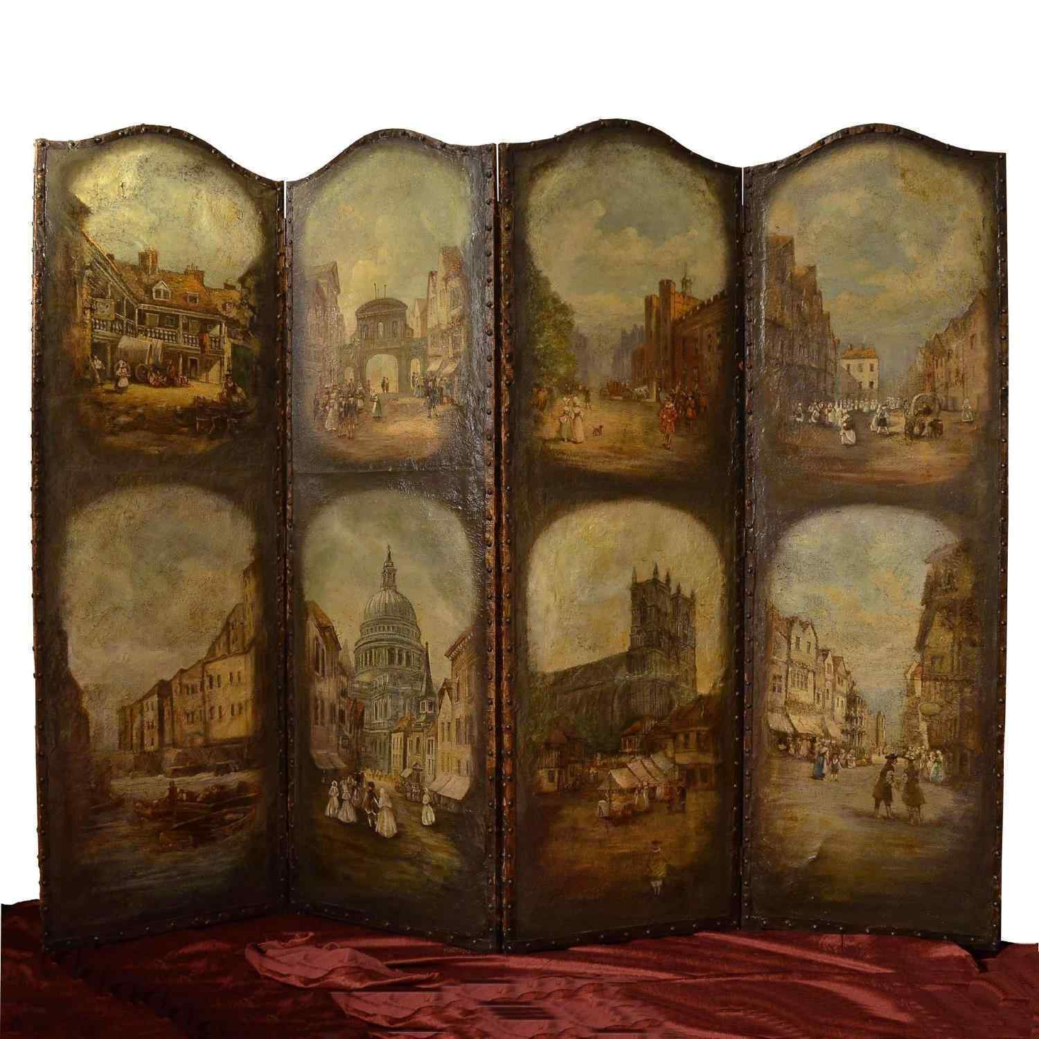 Antique screen with 18th century animated view