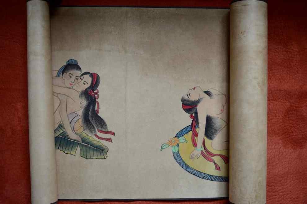Aquarelle Sur Papier, Scènes érotiques. Chine, XXème.