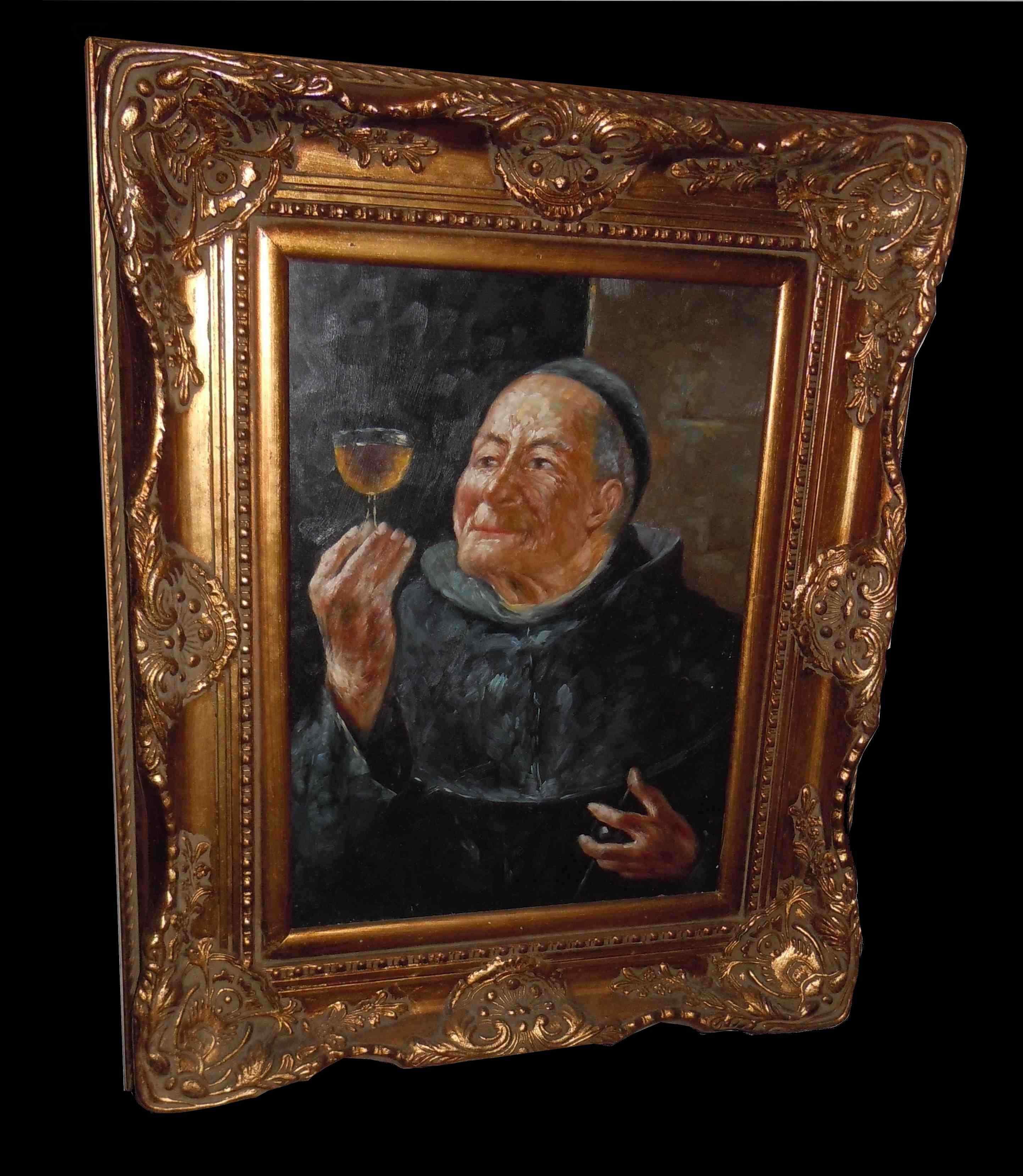 peinture tableau huile sur bois moine au verre de vin anticswiss. Black Bedroom Furniture Sets. Home Design Ideas