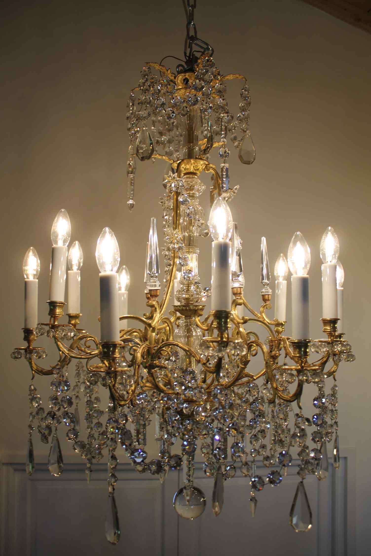 Люстра бронзовая клетка и кристалл 12 огней, Наполеон