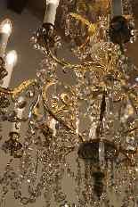 Люстра бронзовая клетка и кристалл 12 огней, Наполеон-3