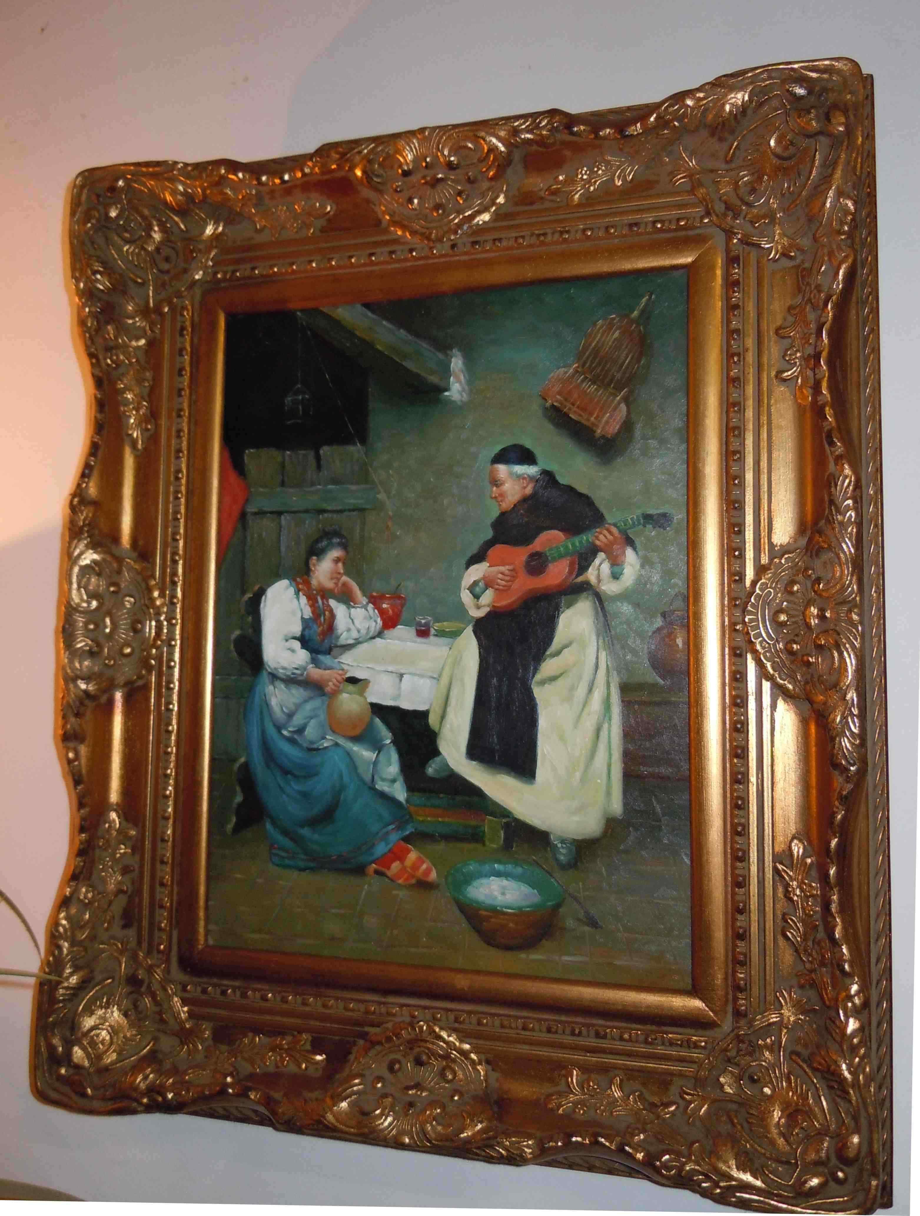 peinture tableau huile sur bois moine la mandoline anticswiss. Black Bedroom Furniture Sets. Home Design Ideas