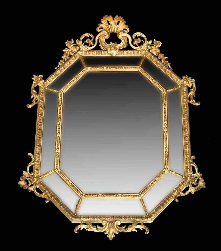 Grande specchio da sala del xix secolo legno dorato for Specchio 1900