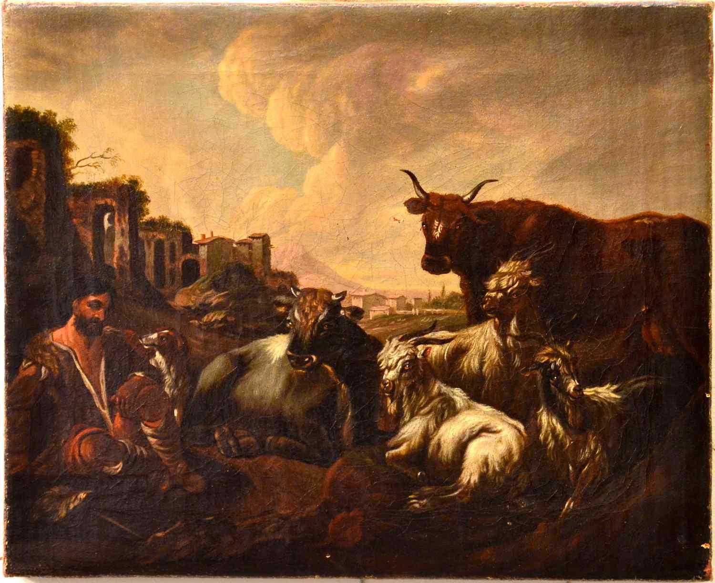 Philipp Peter Roos (1657 - 1706) bottega, Paesaggio romano