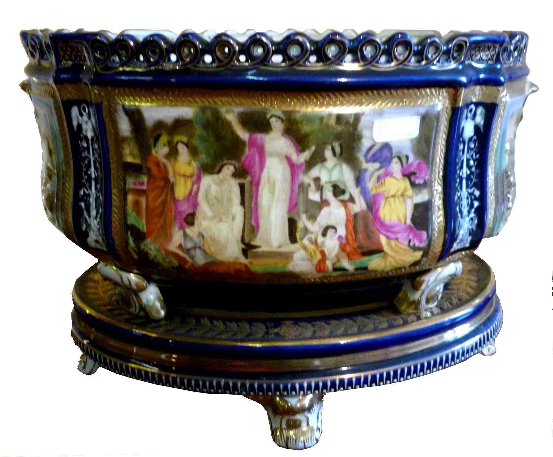 Jardinière vassoio porcellanato Sèbres Empire