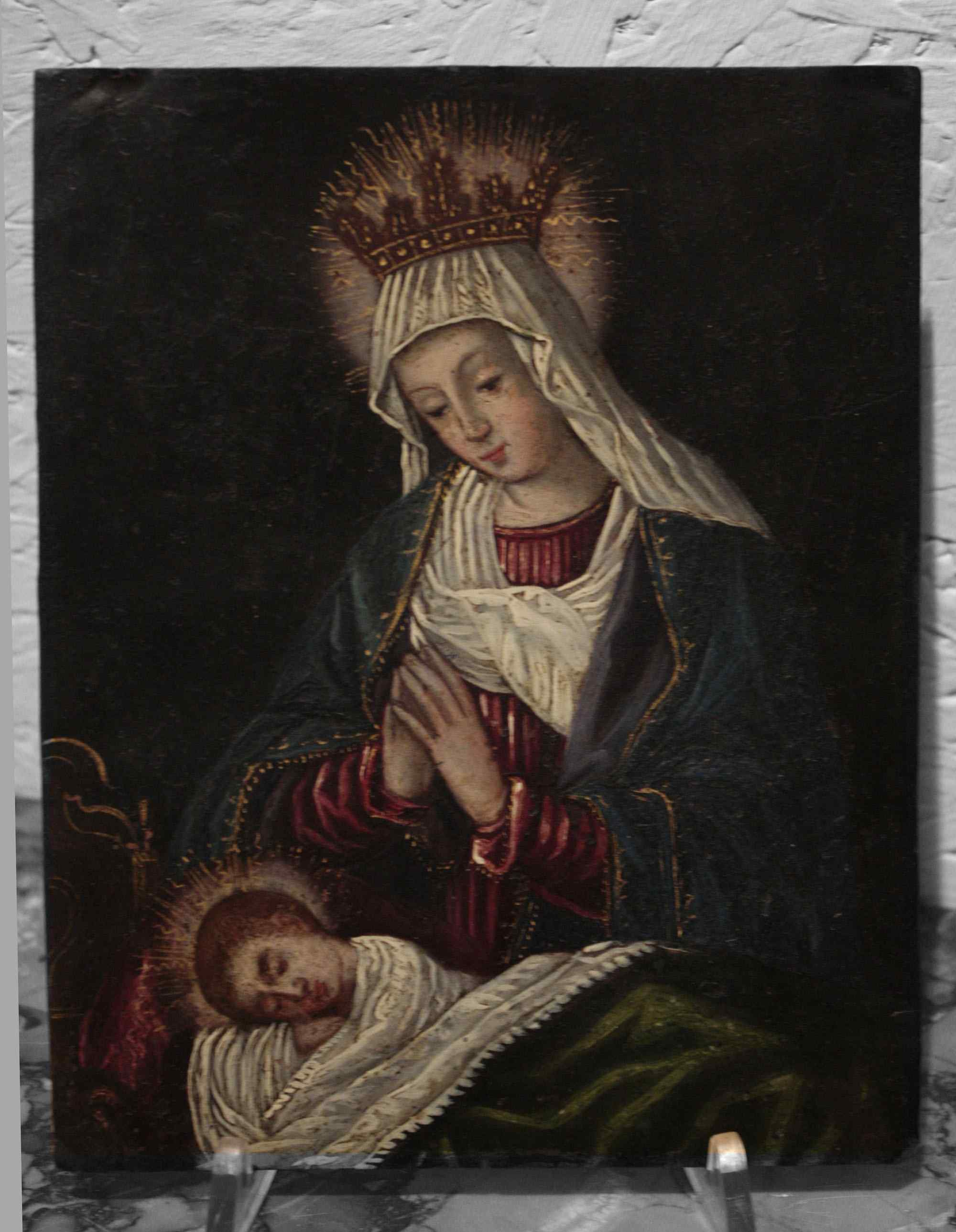 Painted on copper - Madonna with Child