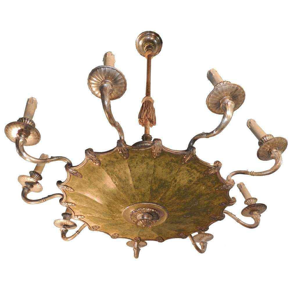 Lampadario in bronzo argentato, XX secolo