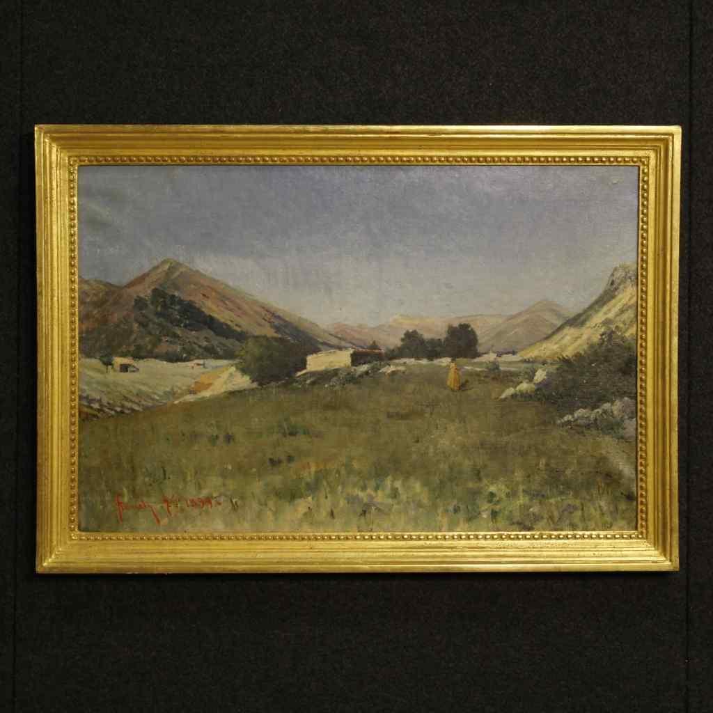 Ancien tableau italien paysage avec chasseur daté 1899