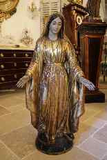 Virgin in carved polychrome wood, first half of the XIXth ce-6