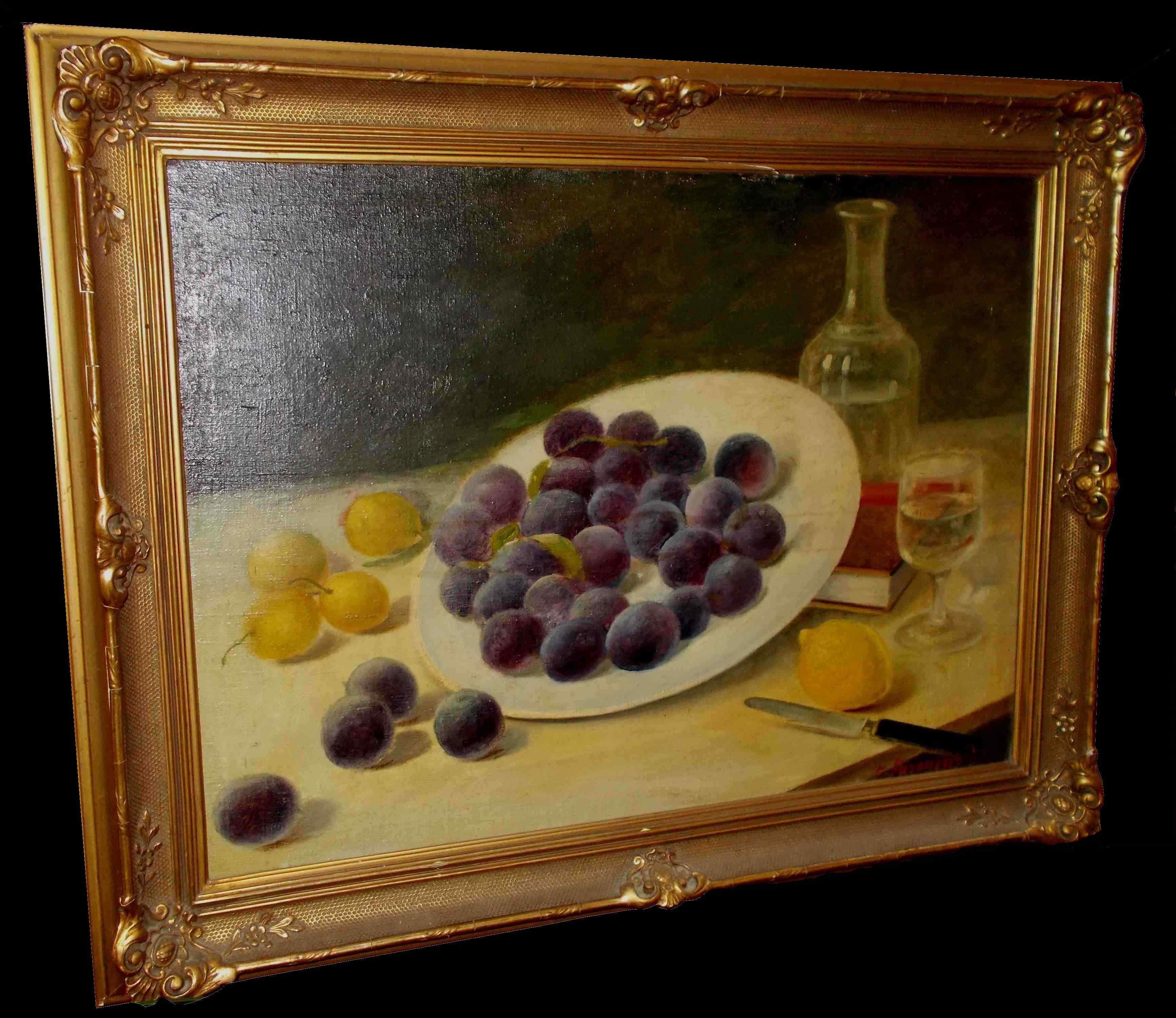 Très Tableau Peinture Nature Morte Aux Fruits Signée :: AnticSwiss VZ46