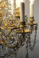Lustre en bronze et cristal de Baccarat, milieu du XIXe sièc-8