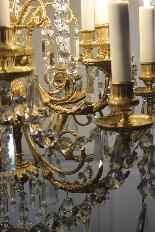 Lustre en bronze et cristal de Baccarat, milieu du XIXe sièc-7