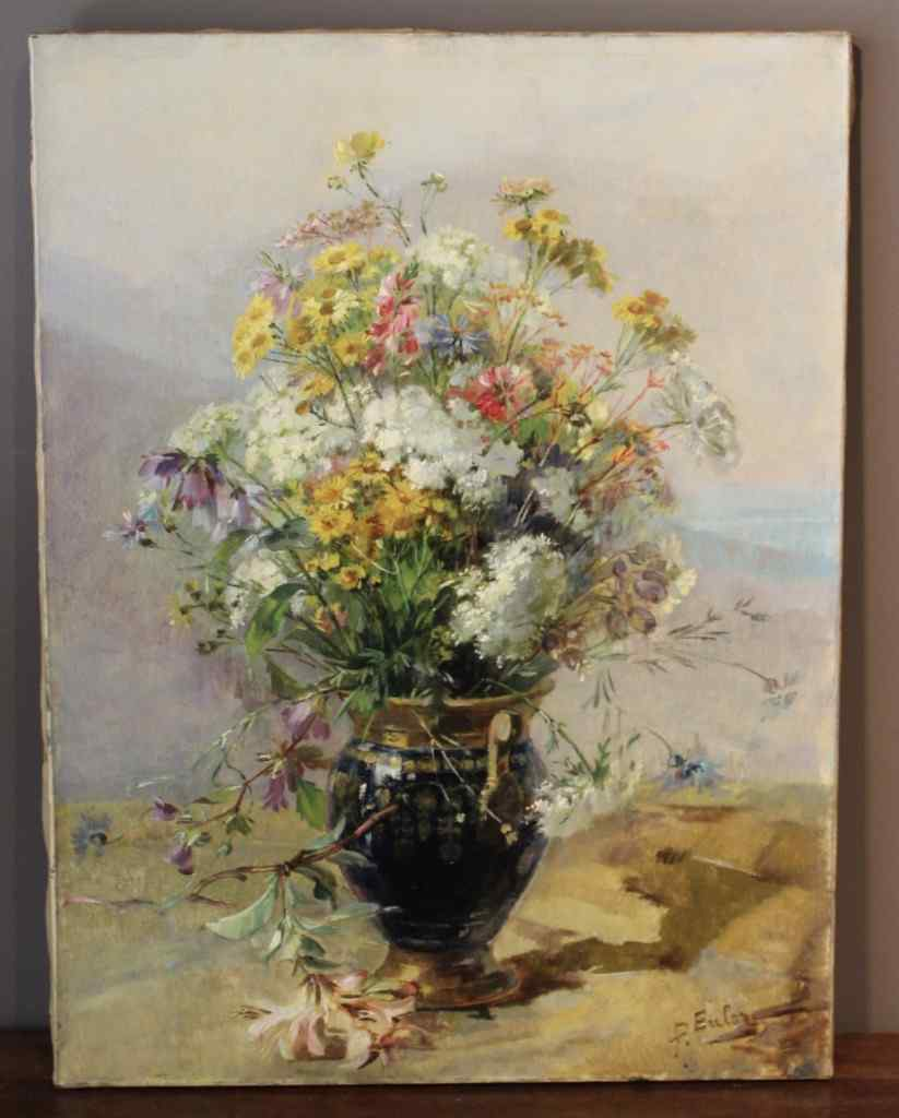 Oil on canvas Bouquet Of Flowers By Euler