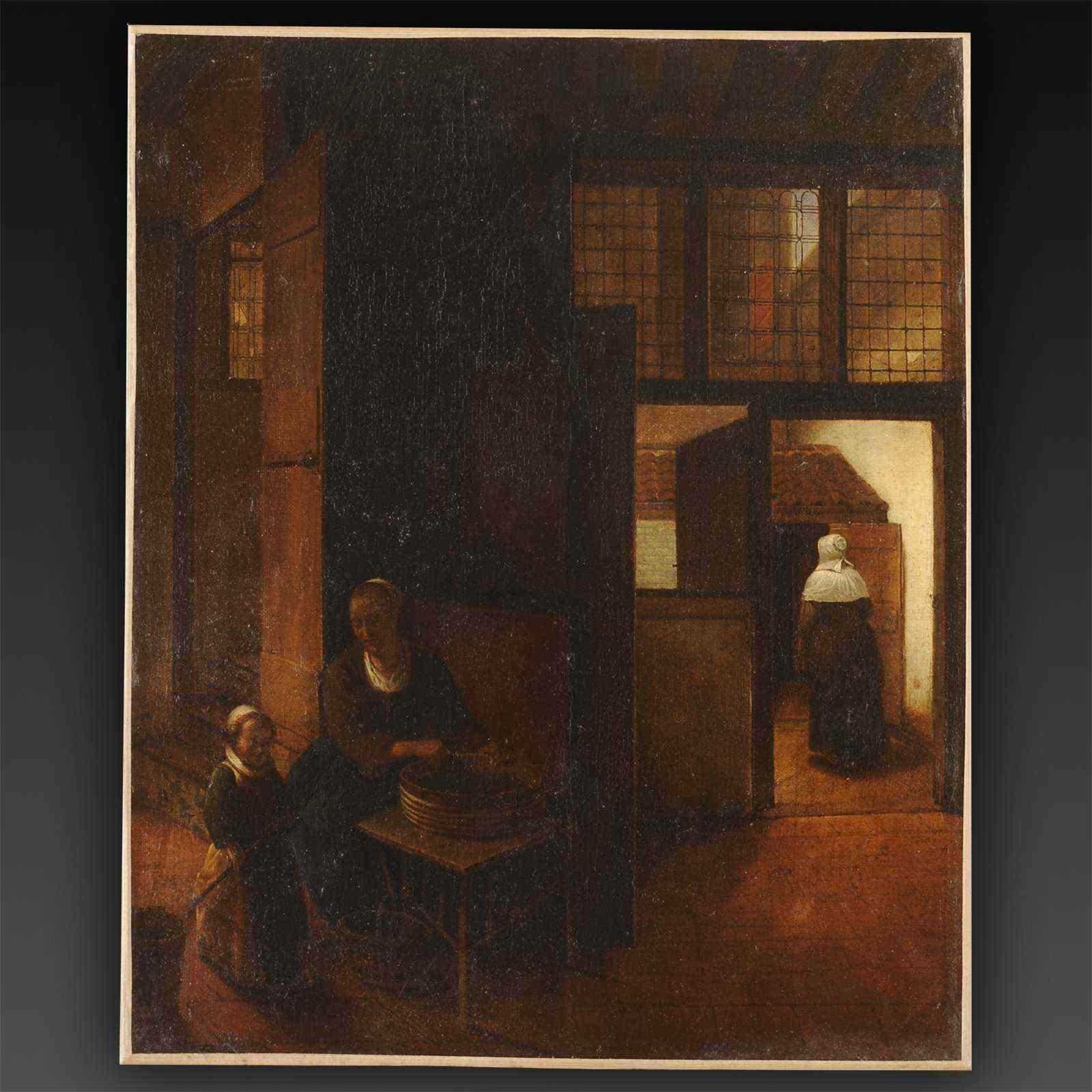 Atelier de Pieter de Hooch - Femme épluchant des légumes