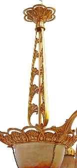 Art Deco Lampadari firmato DAUM Nancy bel bronzo dorato-15