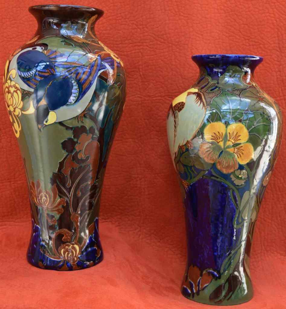 Paire De Vases Rozenburg Den Haag, Art Nouveau.