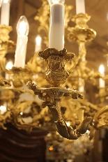 Important lustre rocaille en bronze à 30 feux, XIXe siècle-6