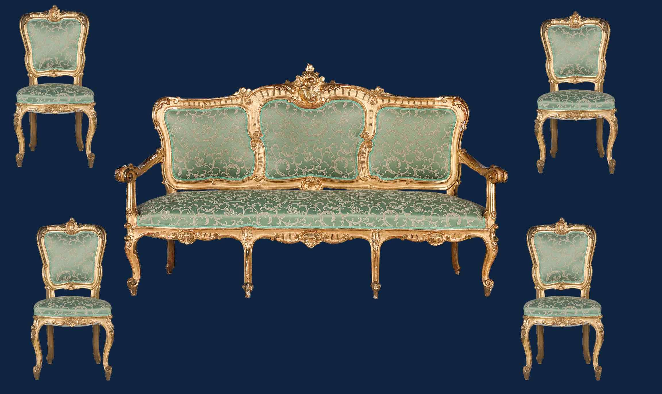 XIX secolo, Salotto con divano e quattro sedie