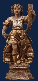 Inizio XVII secolo, Angeli reggicero, Legno policromo e oro-6