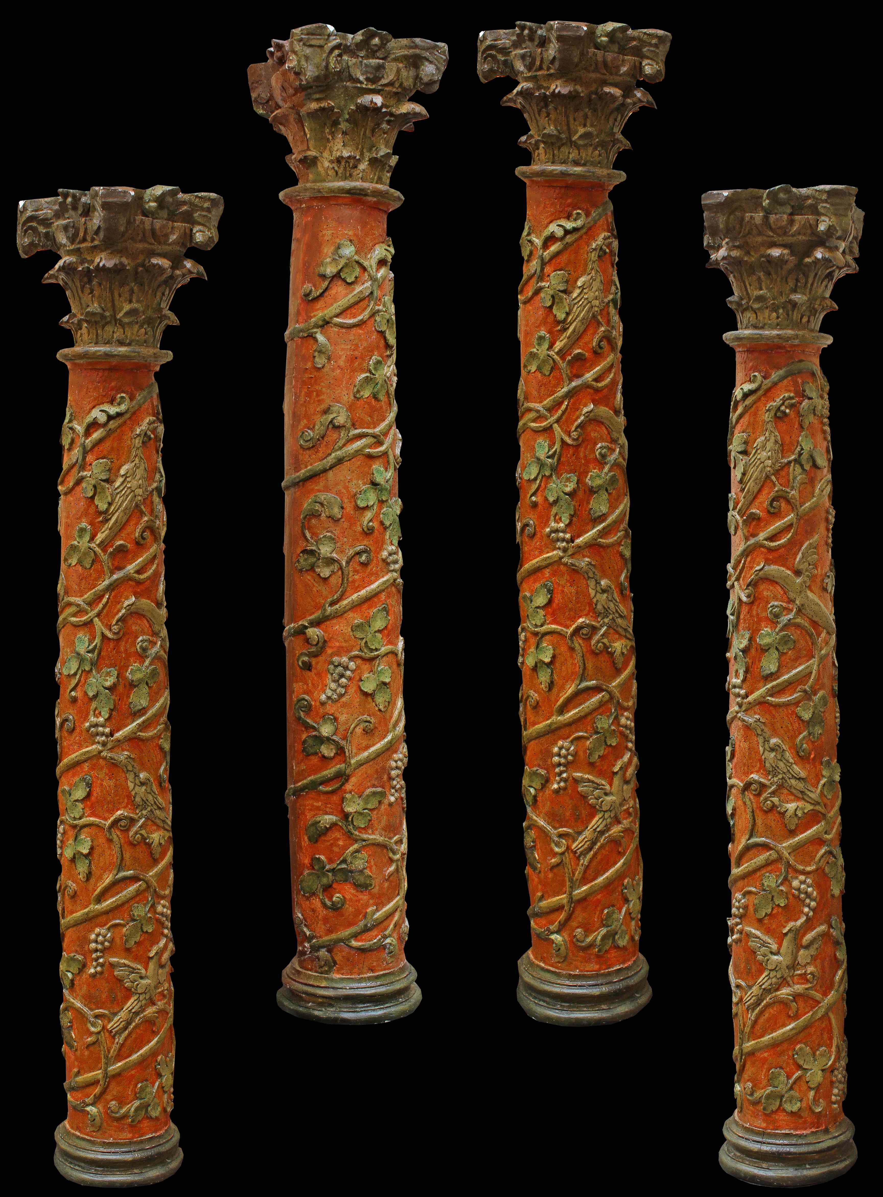 Early 17th century, columns, (4) polychrome and golden wood