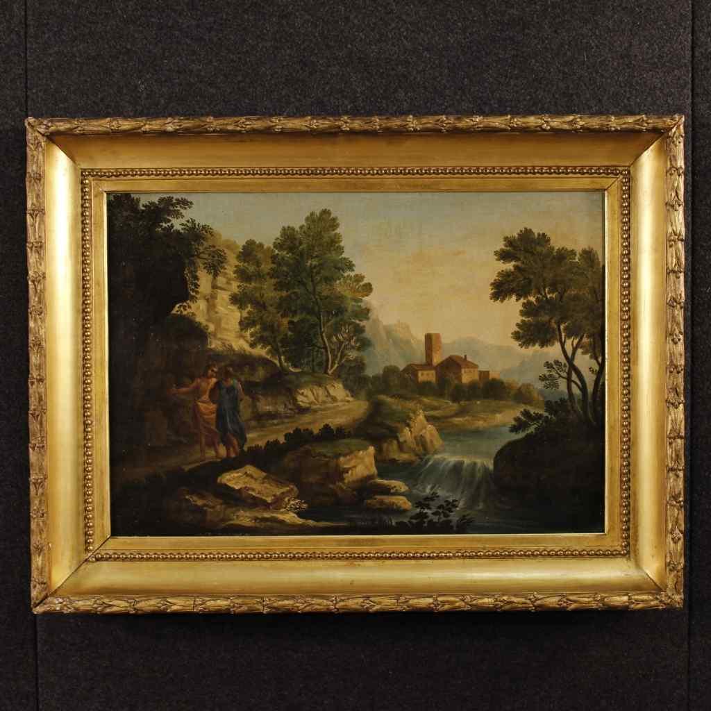 Antico dipinto italiano paesaggio e personaggi XVIII secolo