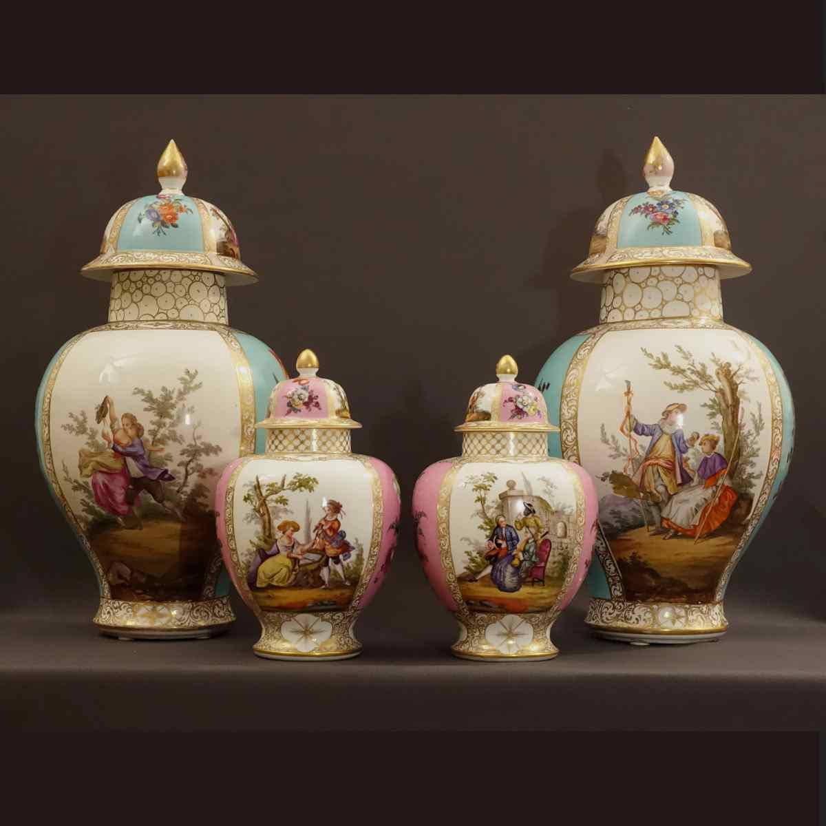 Ensemble d'Importants Vases en Meissen Augustus Rex XIXème