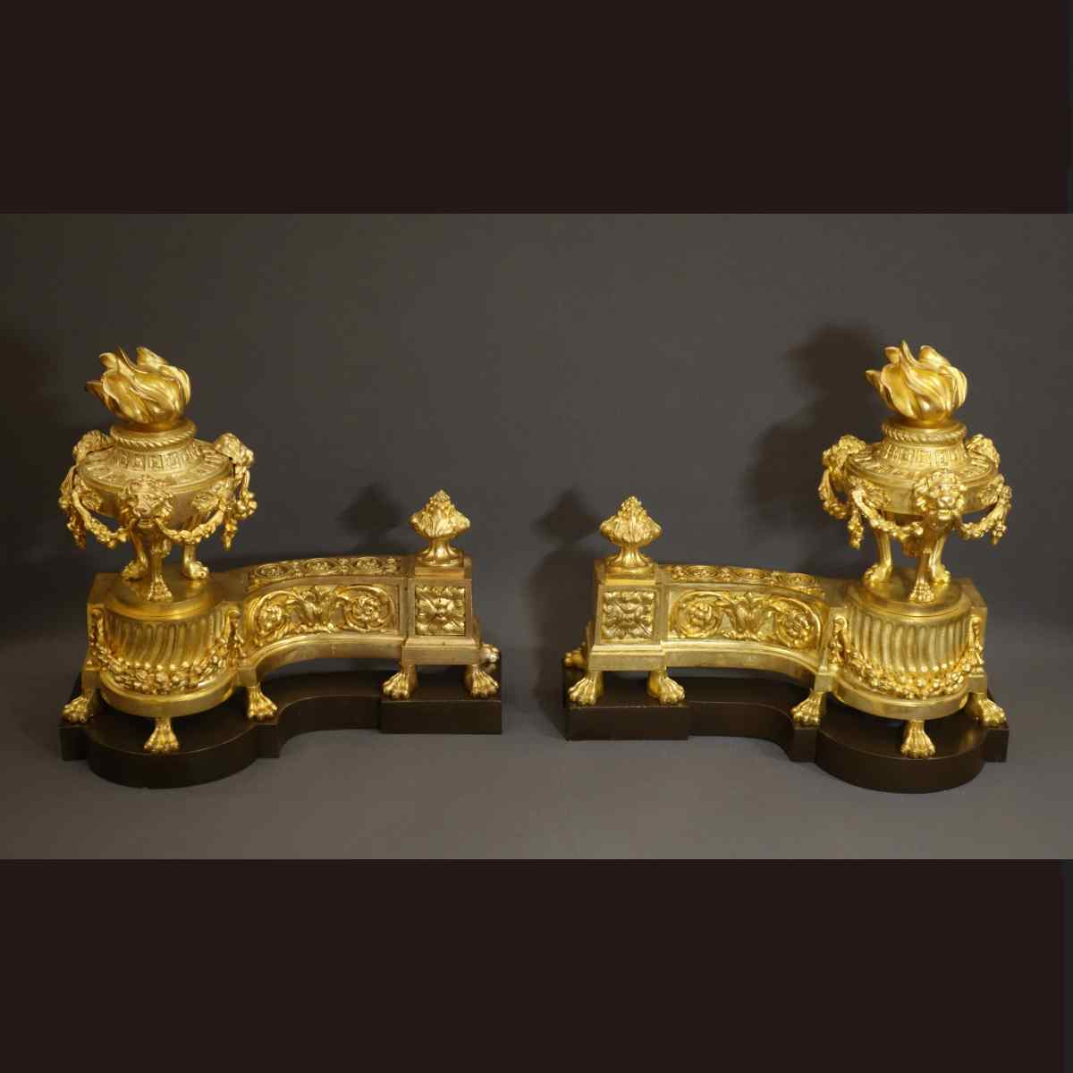Pair Of Large Andirons According To Caffieri XIXth Century